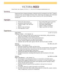 Job Resume Hostess Restaurant Description O Resumebaking Designs Edit Improve Your