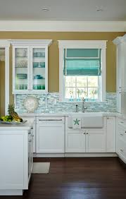 Kitchen With Shimmer Blue Turquoise Backsplash And Farmhouse Sink ShimmerBacksplash BlueBacksplash TurquoiseBacksplash
