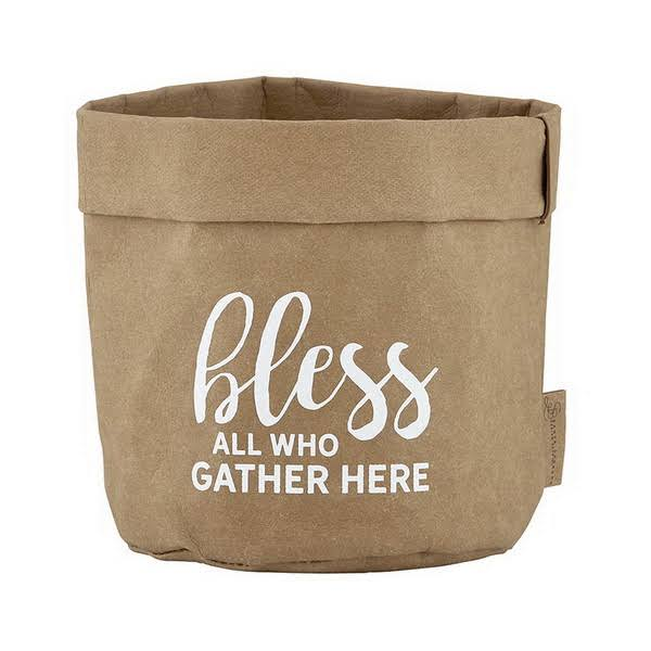 CB Gift 137003 4.5 x 4.5 in. Washable Paper Holder - Bless All Who Gather Natural Kraft