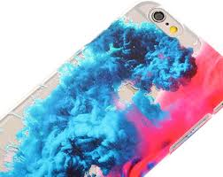 Colored Smoke Water Transparent Clear Blue Pink IPhone Case Trendy