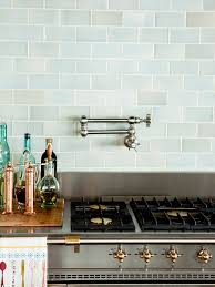 Light Blue Glass Subway Tile Backsplash by Green With Envy 3 Kitchens That Pair Green Tile U0026 Copper Accents