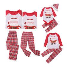 Family Matching Christmas Pajamas Set Mommy Daddy Kids Baby 5 PCS Sleepwear Nightwear Homewear