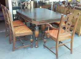 SOLD 1930s Victorian Style Dining Set Table 3 Leaves 6 Chairs
