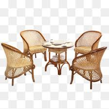 Five Piece Three Wicker Chair Balcony Outdoor Furniture PNG Image