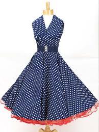 Classic Dame 50s Style Navy White Polka Dot Halter Swing Dress