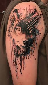 This Artistic Wolf Is Made Using The Shadow Drawing Idea Instead Of Detailing Entire Face Only Inked On In Black With Splashes Ink