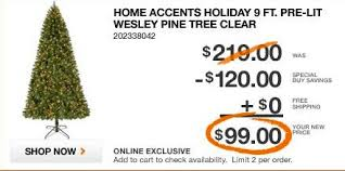 Christmas In June Home Depot Offering Good Deal On Pre Lit 9ft Trees
