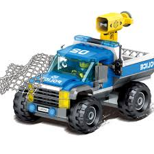100 Model Truck Kits HUIQIBAO TOYS 323pcs City Police Trucks Kits Building Blocks For