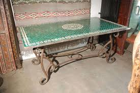 moroccan vintage mosaic green tile dining table at 1stdibs
