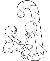 Candy Cane Halloween Ghost Coloring Pages