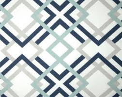 Navy Geometric Pattern Curtains by Patterned Curtains Etsy