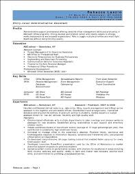 Resume Administrative Prof Resume For fice Assistant Position