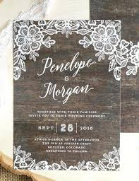 Custom Rustic Wedding Invitations Our New Lace Feature A Delicate Floral Border Against