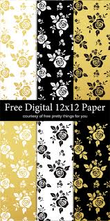 Scrapbook Paper Black White And Gold Leaf