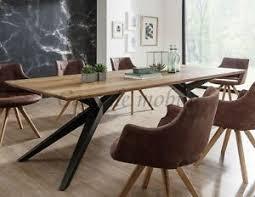 details zu massivholz eßzimmer tisch 220x100 wildeiche massiv geölt metallfüße holz eßtisch