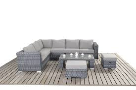 port royal platinum grey large corner sofa rattan garden furniture