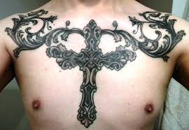 Filigree Gothic Cross Chest Tattoo