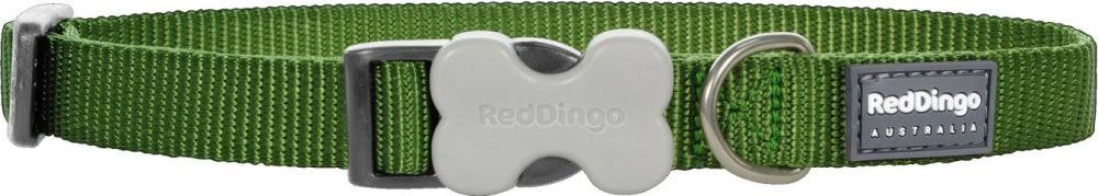Red Dingo Classic Dog Collar - Green, 15mm x 24-37cm