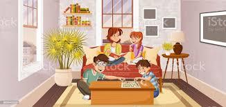 glücklich familie im wohnzimmer stock vektor und mehr bilder bauwerk