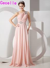 compare prices on one shoulder long bridesmaid dresses pink