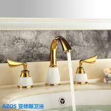 3 stücke goldene farbe tap keramik 2 griff wasserfall wasserhahn badezimmer bassin wannen badewanne mischbatterie wasserhahn mpsk008