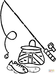 Boy Catches A Fish Coloring Page