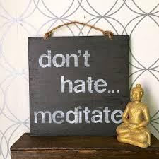 Meditate Wood Sign Yoga Decor Bohemian Hippie Gypsy Wall Art Good Vibes