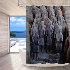 72 krieger figuren terrakotta armee angepasst badezimmer wasserdicht stoff dusche vorhang polyester 12 haken bad zubehör sets