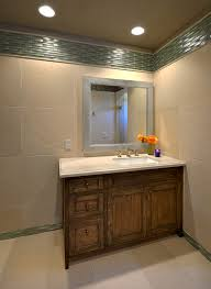 terracotta floor tile with tile accent stripe bathroom traditional