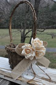 RESERVED for AMANDA Burlap and Lace Flower Girl Basket Rustic