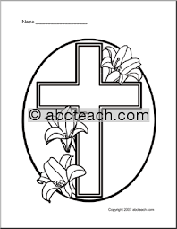 Easter Lily And Cross Coloring Page