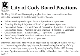 Pumpkin Patch Powell Wy by 006011 City Of Cody Board Positions Announcement Ads