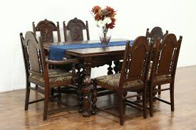 100 Oak Table 6 Chairs SOLD Carved English Tudor 1925 Dining Set