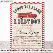 Fire Engine Birthday Party Invitations Free Truck Envelopes ...