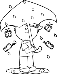 Girl In Spring Rain Coloring Page
