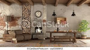 wohnzimmer mit kamin im rustikalen stil mit sofa und