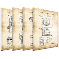 100 Fire Truck Wall Art 4 Patent Decor Print Matboard Man Helmet