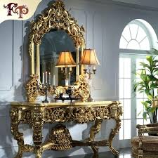 Luxury Classic Furniture Baroque Golden Foil Cracking Paint Console Table Buy