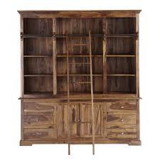 bibliothèque avec échelle en bois de sheesham massif l 210 cm