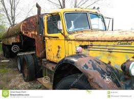 Old Vintage Mack Semi Truck Stock Image - Image Of Yellow, Rusty ...