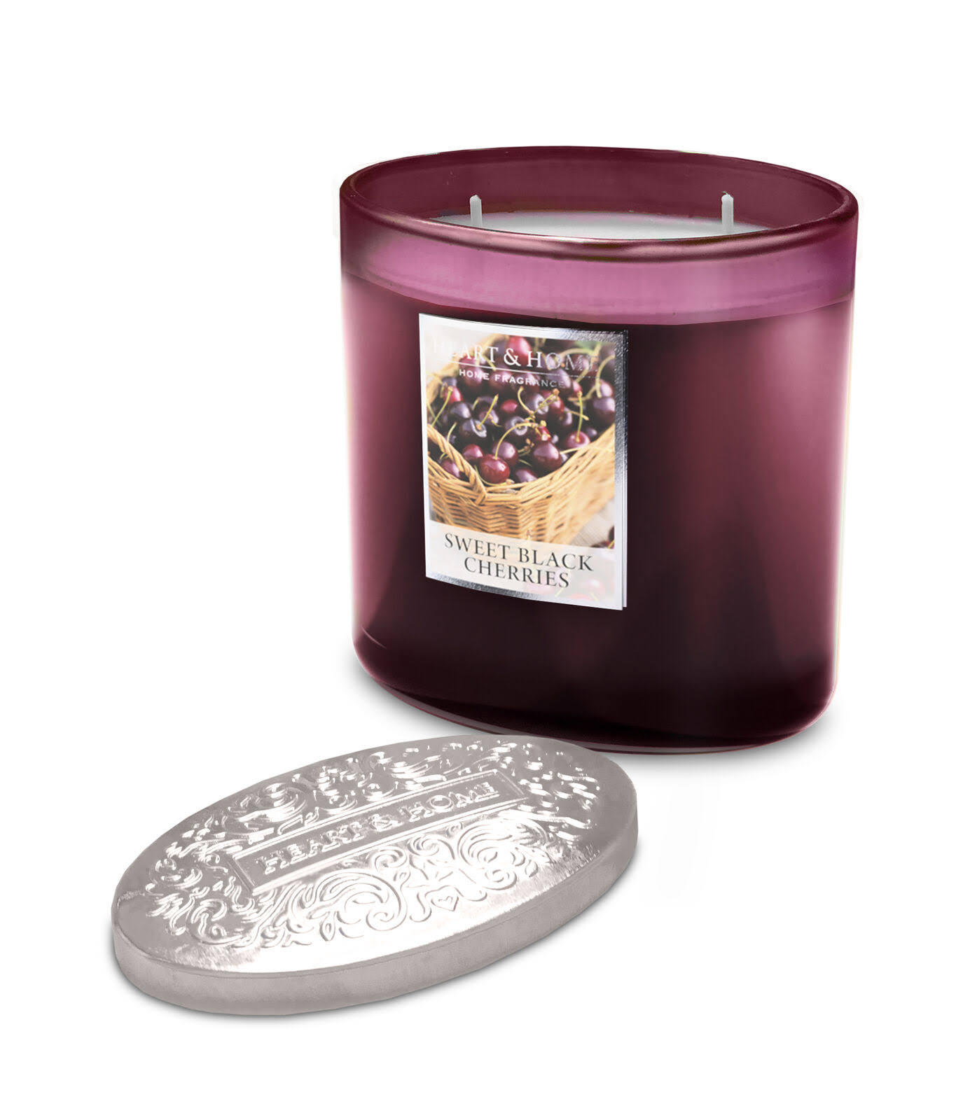 Heart & Home Ellipse Candle, 2 Wick - Sweet Black Cherries
