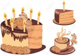 Chocolate birthday cake and coffee Stock Vector