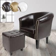 miadomodo chesterfield sessel mit hocker aus holz und kunstleder kupfernieten braun loungesessel inkl sitzhocker clubsessel armsessel