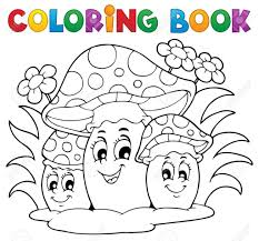 Copyright Free Coloring Pages 10 Book Mushroom Theme 2 Vector Illustration Royalty