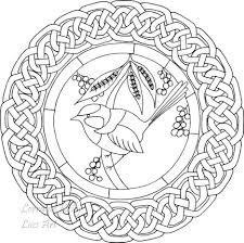 Adult Colouring In Page Mandala Blue Wren Bird Knot Printable Coloring Drawing Bluebird No Celtic Shamrock