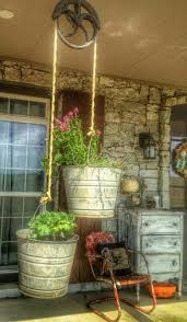 Vintage Pulley Buckets Planter