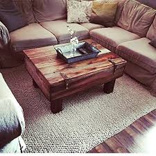 Reclaimed Fruit Crate Coffee Table With Hinged Storage And Wood Legs