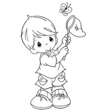 Coloring Page Of Kid Catching A Butterfly To Print