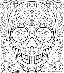 Full Image For Day Of The Dead Printable Coloring Sheets Skulls