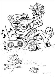 Garfield Was Drinking At The Beach Coloring Page